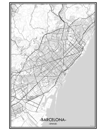 poster Barcelona Barca Spanje spanje city map kaart stad
