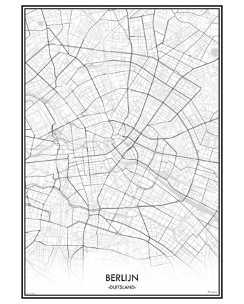 poster berlijn duitsland city map kaart stad