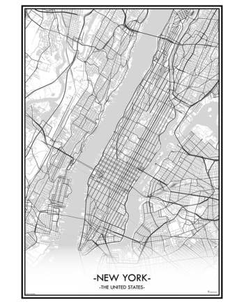 poster New york city map kaart stad