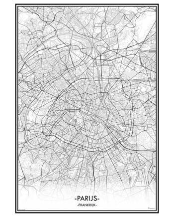poster parijs frankrijk paris city map kaart stad