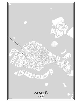 poster Venetie Venetië Italië italie city map kaart stad