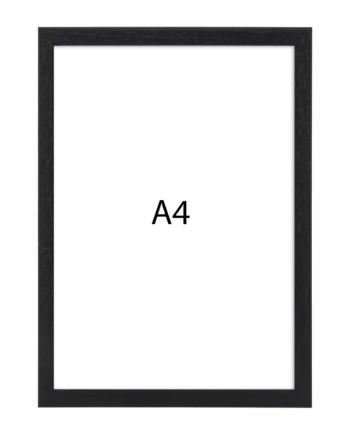 Premium fotolijst hout A4 zwart